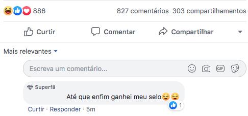 Exemplo selo Superfã Facebook | Agência 904