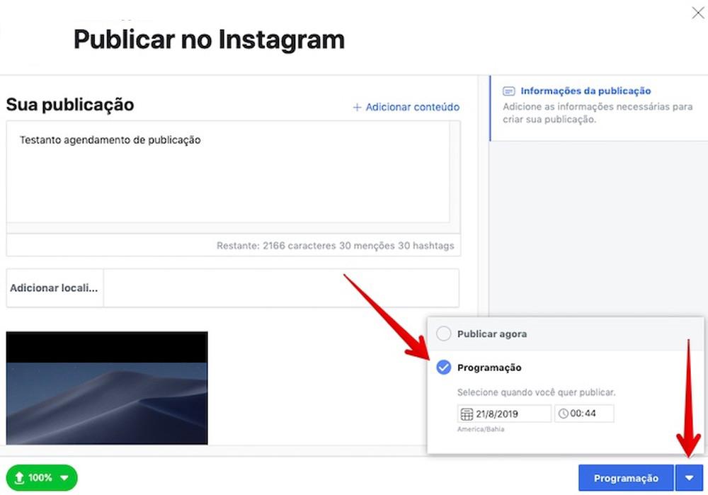 Exemplo programação post Instagram pelo Estúdio de Criação | Agência 904